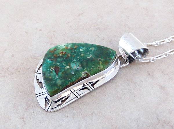 Image 3 of Green Turquoise & Sterling Silver Pendant Philp Sanchez - 3795sn