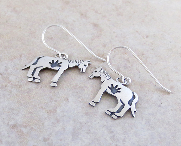 Image 1 of             Sterling Silver Horse Earrings Navajo Jewelry- 4307sn