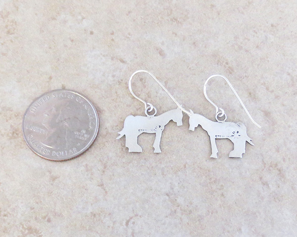 Image 2 of    Sterling Silver Horse Earrings Navajo Jewelry- 4307sn
