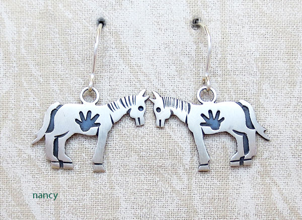 Image 0 of             Sterling Silver Horse Earrings Navajo Jewelry- 4307sn