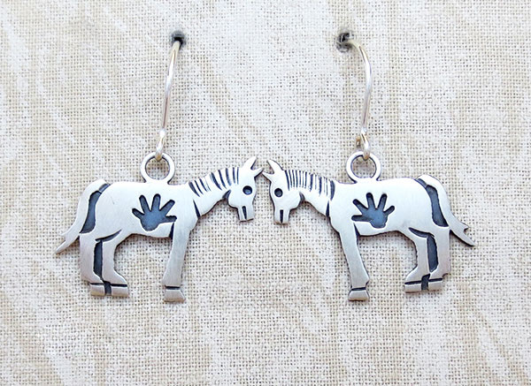 Sterling Silver Horse Earrings Navajo Jewelry- 4307sn