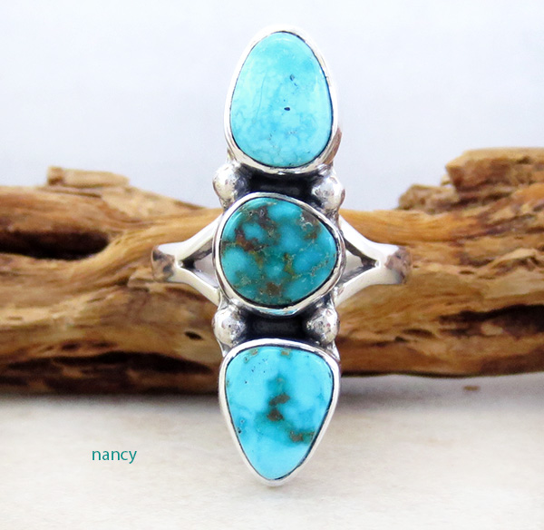 Multi Turquoise Stone & Sterling Silver Ring Size 8.25 Navajo - 4315sn