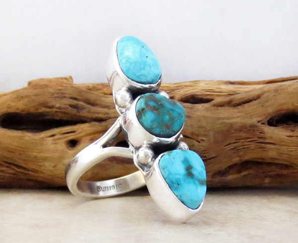 Image 2 of      Turquoise & Sterling Silver Ring Size 8.25 Native American - 4315sn