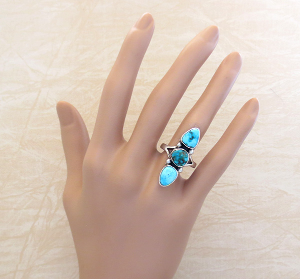 Image 4 of      Turquoise & Sterling Silver Ring Size 8.25 Native American - 4315sn