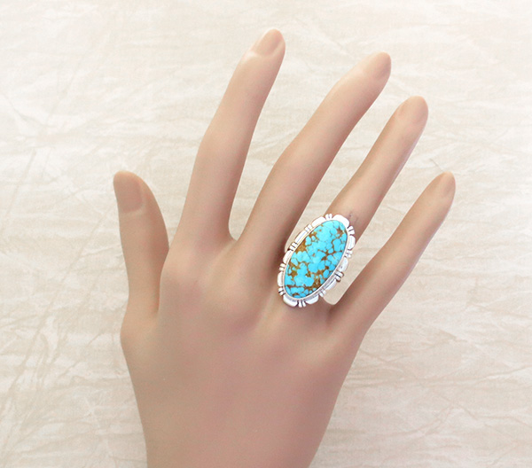 Image 1 of Native American Jewelry Turquoise & Sterling Silver Ring Size  8 - 4312rio
