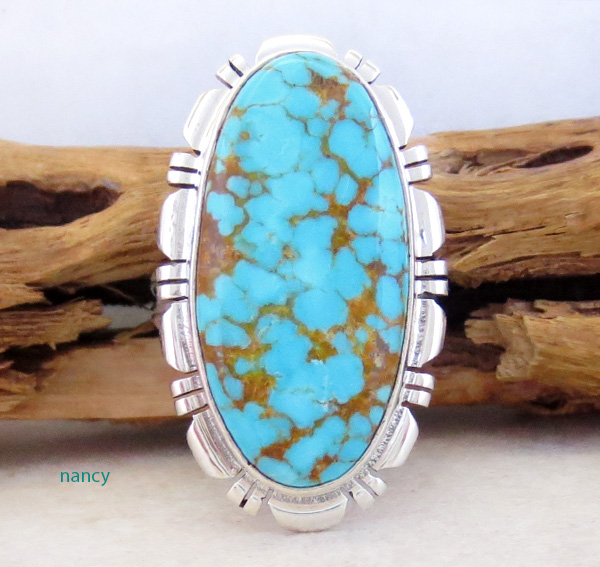 Native American Jewelry Turquoise & Sterling Silver Ring Size  8 - 4312rio