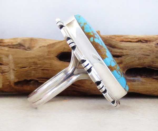 Image 2 of Native American Jewelry Turquoise & Sterling Silver Ring Size  8 - 4312rio