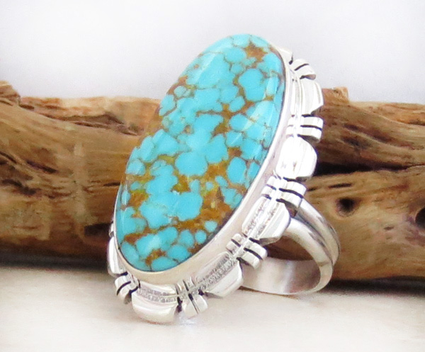 Image 3 of Native American Jewelry Turquoise & Sterling Silver Ring Size  8 - 4312rio