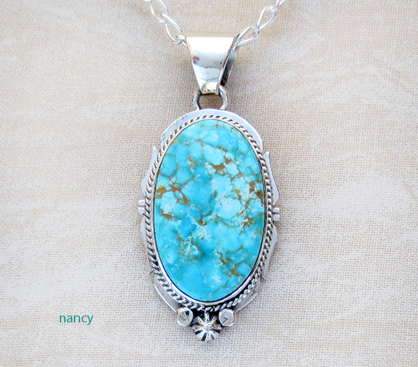 Kingman Turquoise & Sterling Silver Pendant Navajo Made - 4108sn