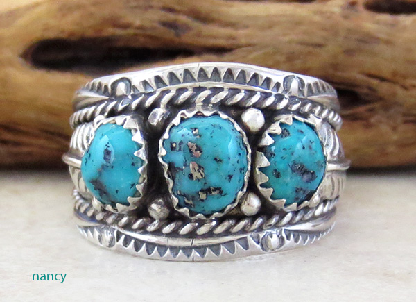 Classic Sterling Silver & Turquoise Ring Size 10 Betty Begaye - 4113rb