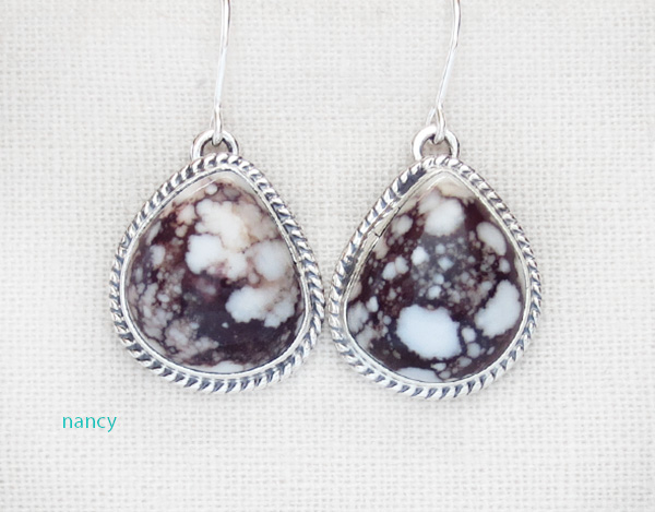 Image 0 of      Wild Horse Stone & Sterling Silver Earring Native American Jewelry - 4206sn