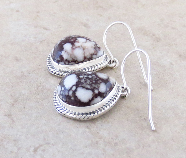 Image 1 of  Wild Horse Stone & Sterling Silver Earring Native American Made - 4206sn