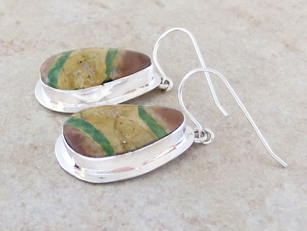 Image 1 of   Green Boulder Ribbon Turquoise & Sterling Silver Earrings Navajo - 4316sn