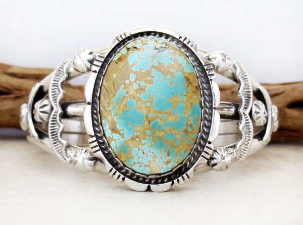 Large Royston Turquoise & Sterling Silver Bracelet Alfred Martinez - 3682dt