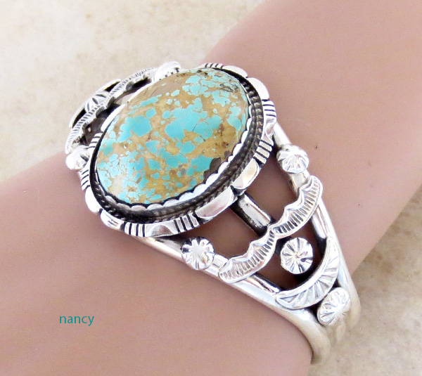 Image 1 of Large Royston Turquoise & Sterling Silver Bracelet Alfred Martinez - 3682dt