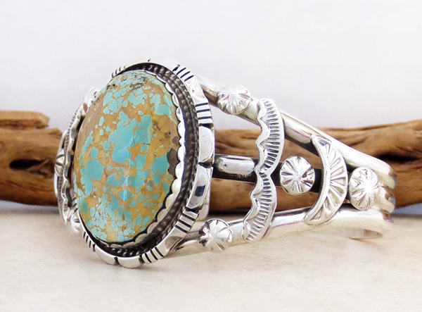 Image 3 of Large Royston Turquoise & Sterling Silver Bracelet Alfred Martinez - 3682dt