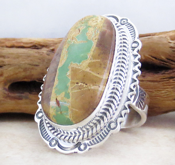 Image 2 of    Green Boulder Turquoise & Sterling Silver Ring Size 7 Joe Piaso Jr - 4317sn