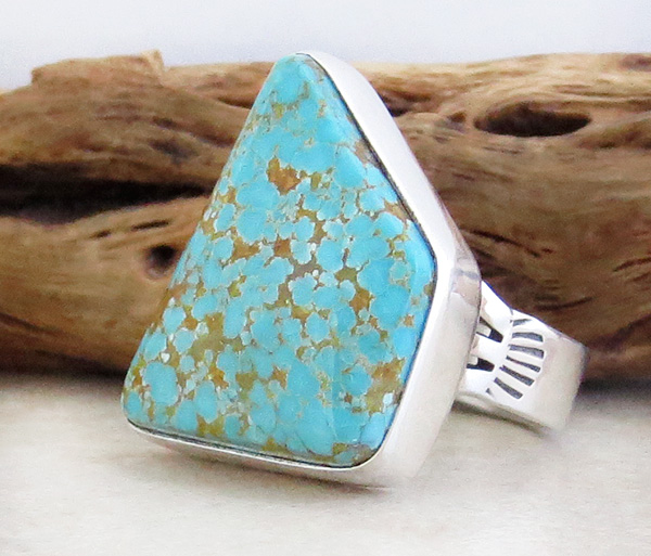 Image 2 of        Native American #8 Mine Turquoise & Sterling Silver Ring Size 7 - 4112sn