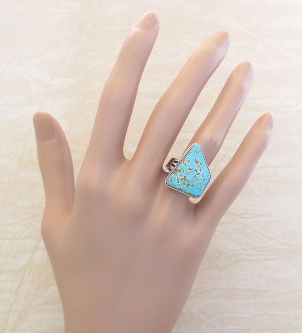 Image 4 of        Native American #8 Mine Turquoise & Sterling Silver Ring Size 7 - 4112sn