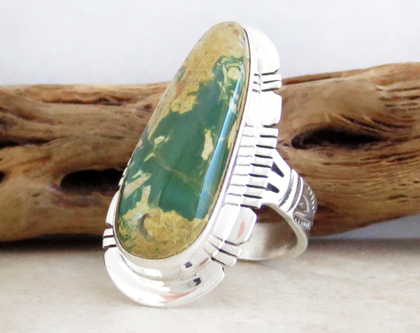 Image 2 of    Native American Jewelry Turquoise & Sterling Silver Ring Size 8 - 3951sn