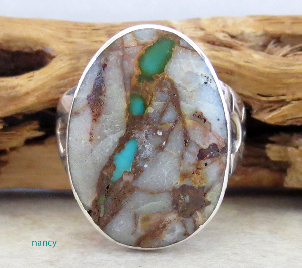 Boulder Turquoise & Sterling Silver Ring Size 7.5  Navajo Made - 4207sn