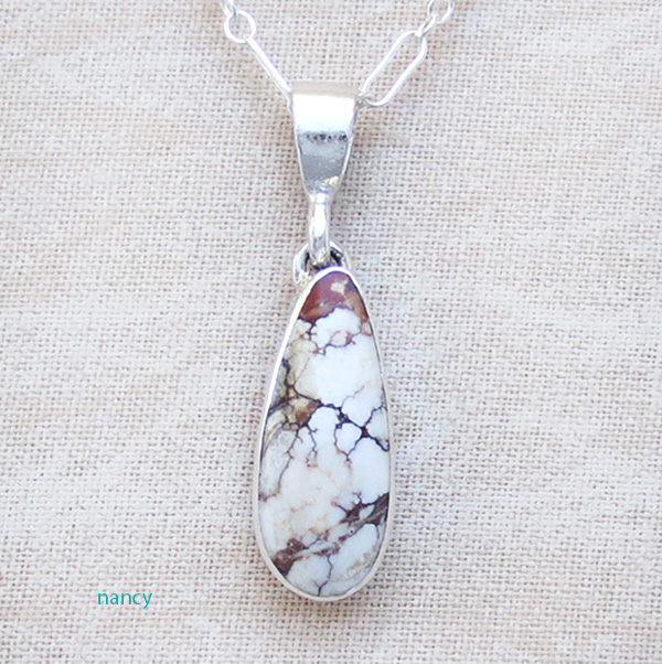 Image 0 of   Small Wild Horse Stone & Sterling Silver Pendant Navajo - 1506sn