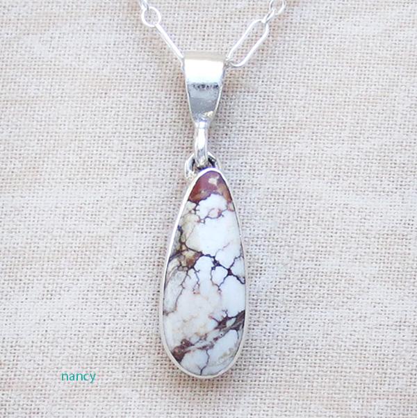 Small Wild Horse Stone & Sterling Silver Pendant Navajo - 1506sn