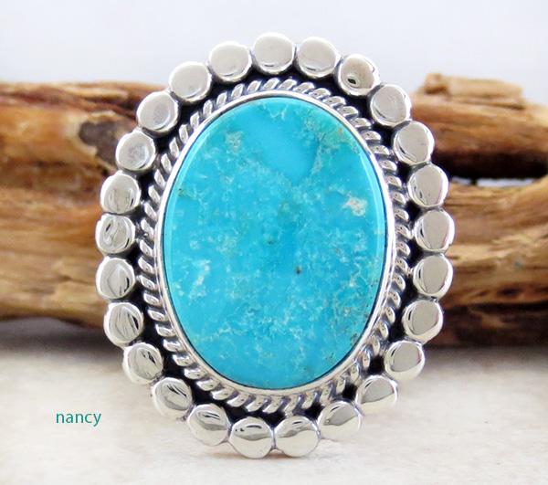 Kingman Turquoise & Sterling Silver Ring size 6.5 Joe Piaso - 3952sn
