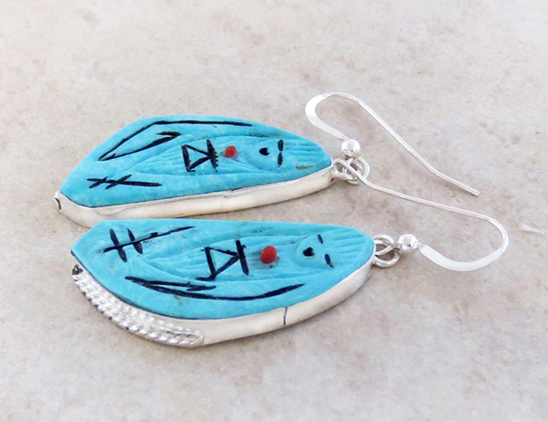 Image 1 of Carved Turquoise Corn Maiden Earrings Zuni Made - 1589rio