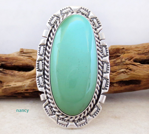 Big Turquoise & Sterling Silver Ring Size 8 A. Largo Navajo - 4318dt