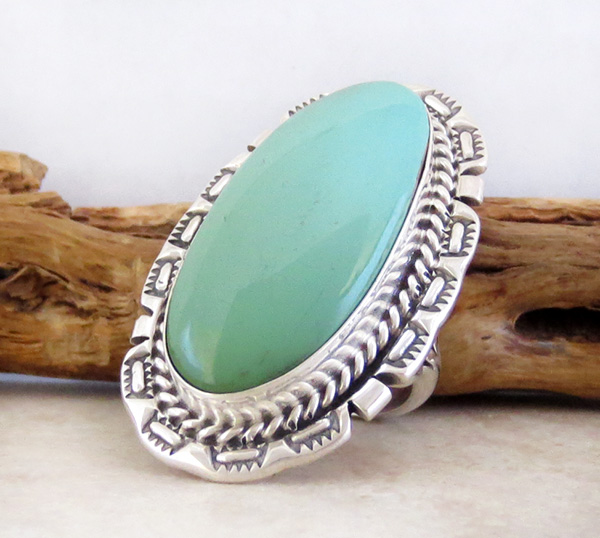 Image 2 of      Big Turquoise & Sterling Silver Ring Size 8 A. Largo Navajo - 4318dt