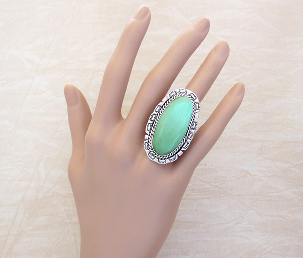 Image 4 of      Big Turquoise & Sterling Silver Ring Size 8 A. Largo Navajo - 4318dt