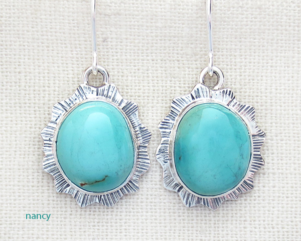 Turquoise & Sterling Silver Earrings Navajo Made - 4319sn