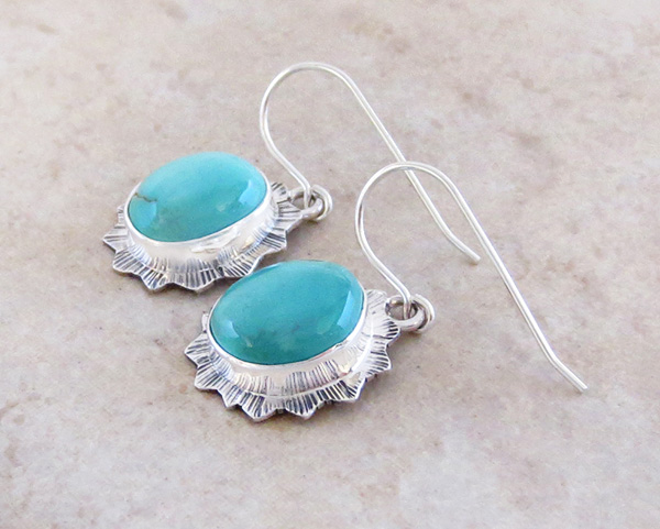 Image 1 of         Turquoise & Sterling Silver Earrings Native American Jewelry - 4319sn