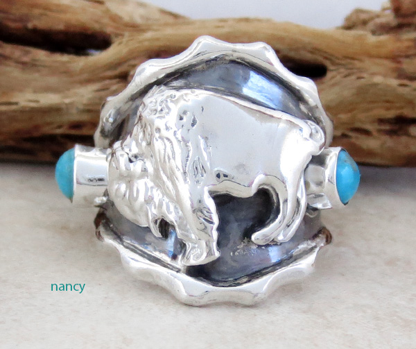 Native American Sterling Silver & Turquoise Buffalo Ring Sz 9.75 - 4209rb