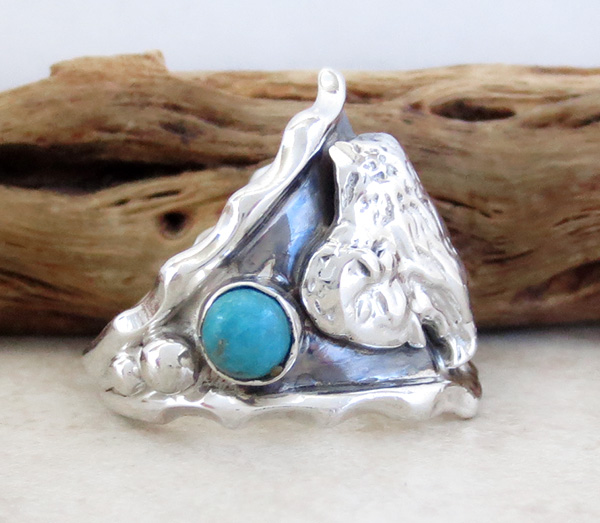 Image 1 of  Native American Sterling Silver & Turquoise Buffalo Ring Sz 9.75 - 4209rb