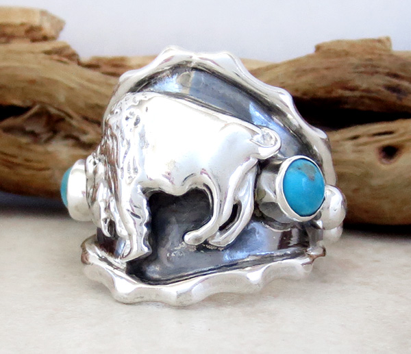 Image 2 of  Native American Sterling Silver & Turquoise Buffalo Ring Sz 9.75 - 4209rb