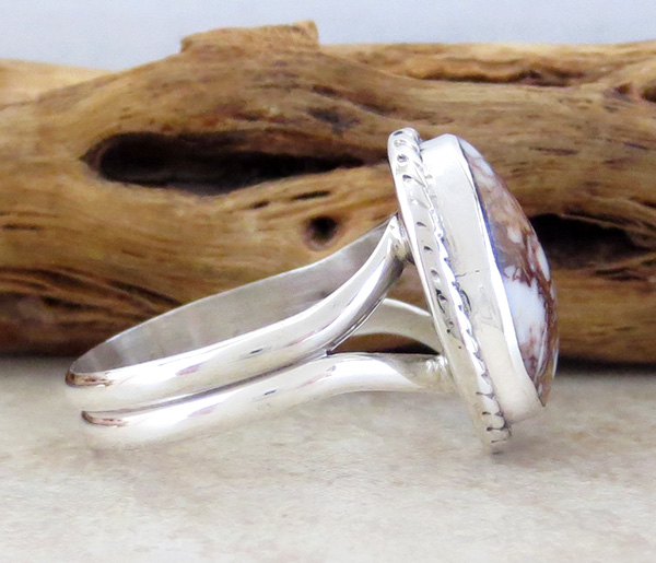 Image 1 of   Small Wild Horse Stone & Sterling Silver Ring size 8.25 - 1820sn