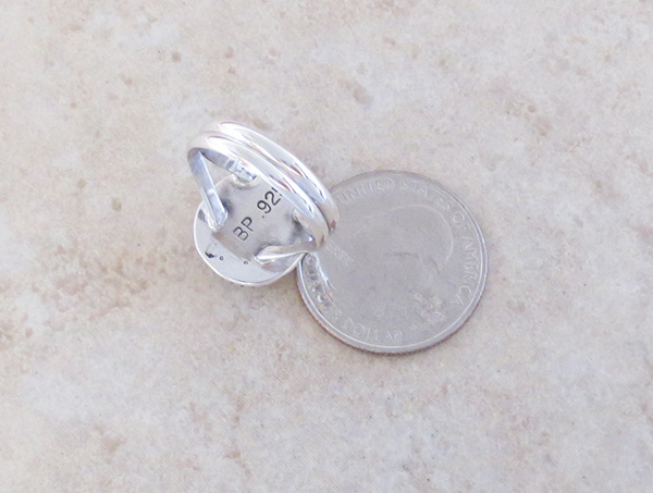 Image 2 of   Small Wild Horse Stone & Sterling Silver Ring size 8.25 - 1820sn