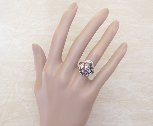 Image 3 of   Small Wild Horse Stone & Sterling Silver Ring size 8.25 - 1820sn