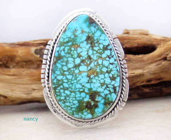 Turquoise & Sterling Silver Ring Size 8 Native American Made - 1826sn