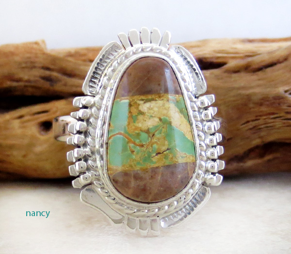 Boulder Turquoise & Sterling Silver Ring Size 9 Bennie Ration - 4213sn