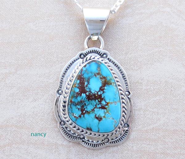 Kingman Turquoise & Sterling Silver Pendant Navajo Made - 1442sn