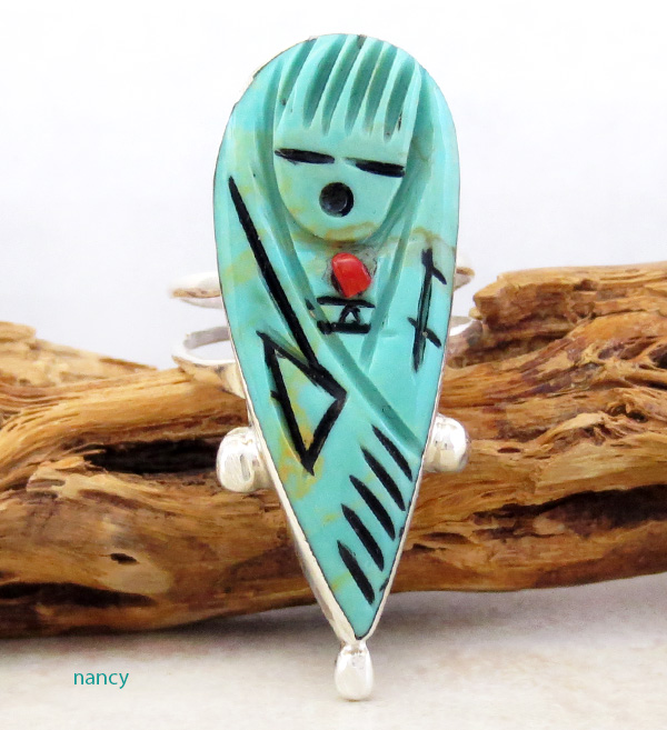 Image 0 of   Carved Turquoise Corn Maiden Ring Size 8.5 Zuni - 1445rio