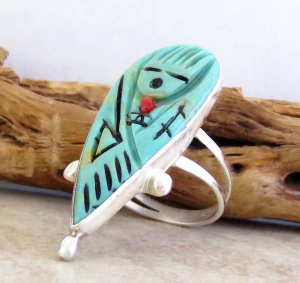 Image 2 of   Carved Turquoise Corn Maiden Ring Size 8.5 Zuni - 1445rio