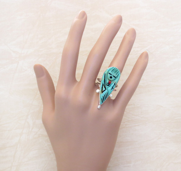 Image 4 of   Carved Turquoise Corn Maiden Ring Size 8.5 Zuni - 1445rio