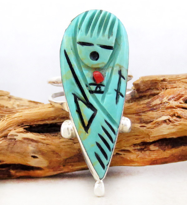 Carved Turquoise Corn Maiden Ring Size 8.5 Zuni - 1445rio