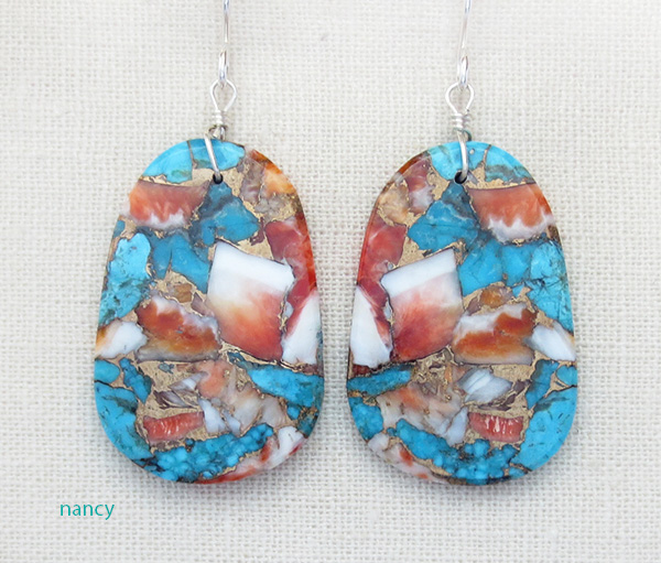 Image 0 of  Mosaic Turquoise & Spiny Oyster Slab Earrings Ronald Chavez - 4116pl