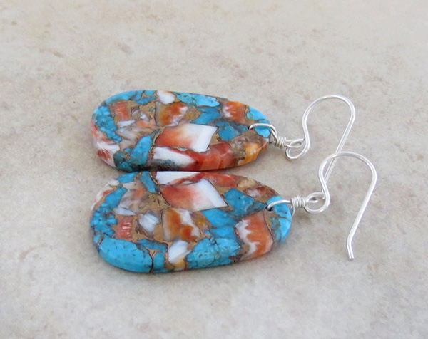 Image 1 of  Mosaic Turquoise & Spiny Oyster Slab Earrings Ronald Chavez - 4116pl
