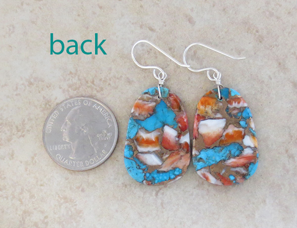 Image 2 of  Mosaic Turquoise & Spiny Oyster Slab Earrings Ronald Chavez - 4116pl